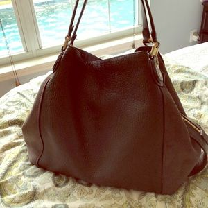 Coach Edie 42 NWT Chocolate Brown Suede & Leather